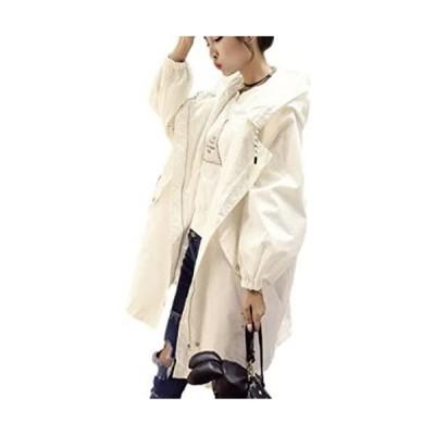 [ニブンノイチスタイル] 1/2style ロング ゆったり アーミー 可愛い 撥水 モッズ ジャケット コート レディース (白 XL)