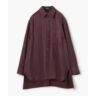 TOMORROWLAND/トゥモローランド Edition フィブリルサテン ビッグカラーシャツ 39 ボルドー F