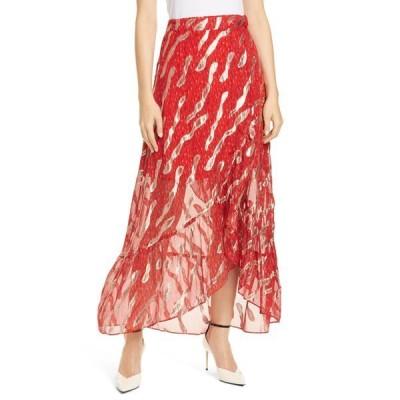 バッシュ レディース スカート ボトムス Hada Metallic Print Silk Skirt RED
