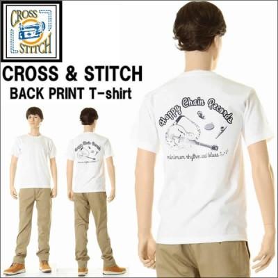 CROSS STITCH クロススティッチ HAPPY EHAIN RECORDS バックプリントTシャツ ホワイト 楽器柄 半袖 プリント Tシャツ