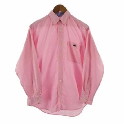 【中古】ラコステ LACOSTE シャツ 長袖 ボタンダウン コットン ロゴ 刺繍 ピンク 2 メンズ