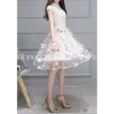 花柄ドレスパーティー結婚式お呼ばれかわいいワンピース