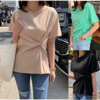 【2019春夏 NEW ITEM】【3カラー XL-5XL】結びのデザインが今年らしいデザインTシャツ♪ カットソー/半袖/シンプル/無地/Uネック/トップ