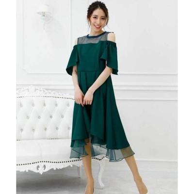 ドレス 【flexin/フレキシン】 デコルテ オーガンジー オフショルダー セミロングワンピースドレス