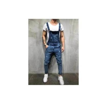メンズ オーバーオール デニムパンツ サスペンダー カジュジーンズ ワークパンツ 作業服HHQB037