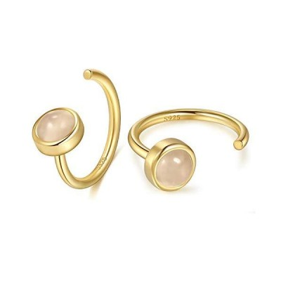 Huggie Hoop Earrings 18K Gold Plated 925 Sterling Silver Synthetic Moonstone Hugger Earrings for Women Hug Hoop Earrings Half Huggie Earring