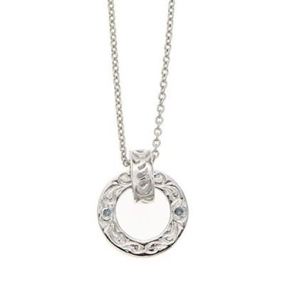 [アクセサリーショップピエナ]ブルーダイヤモンド シルバー925製 50cm リング ハワイアンジュエリー スクロール ネックレス メンズ