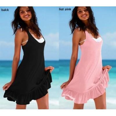 ワンピース タンクトップ 春 夏 / グレコタイプ チュニック ラッフル ワンピ リゾートドレス カバードレス 水着の上にも! 重ね着 スソ
