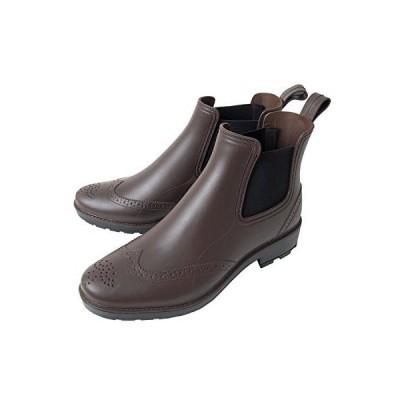 イナセ 完全防水 メンズ レイン ブーツ シューズ 雨具 ビジネス M 2-ブラウン