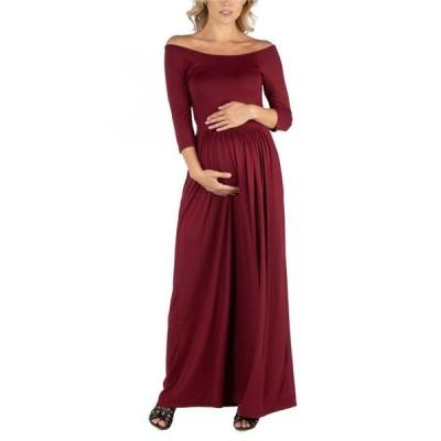 24セブンコンフォート レディース ワンピース トップス Off Shoulder Pleated Waist Maternity Maxi Dress