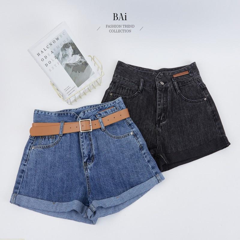 BAi 小皮標高腰牛仔皮帶短褲M-XL號-【310678】