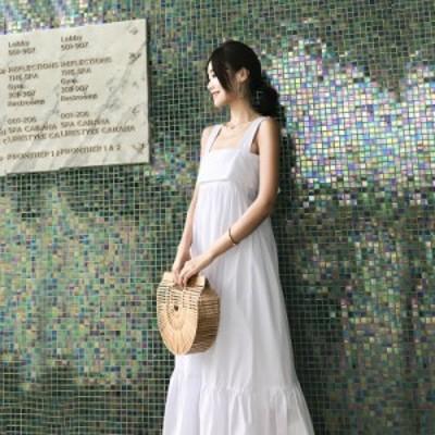 リゾート ワンピース ハワイ グアム 結婚式 沖縄リゾートワンピース  バックリボン ワンピース 背中あき 背中見せ コットンワンピース 白