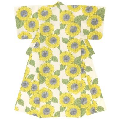 浴衣 レディース クリーム 薄黄色 イエロー 黄色 グリーン 緑 ひまわり 花 フラワー 綿 夏祭り 花火大会 女性用 仕立て上がり S フリー 送料無料