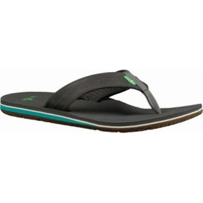 Sanuk メンズサンダル Sanuk Land Shark Flip Flop Black/Charcoal Synth