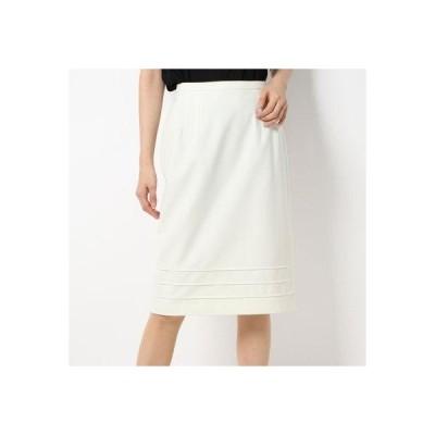 バゼーヌ BAZAINE 裾ピンタック タイト スカート (ホワイト)