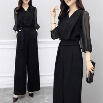エレガントなオールインワン シフォン7分袖 ブラック シースルー パンツドレス E1008