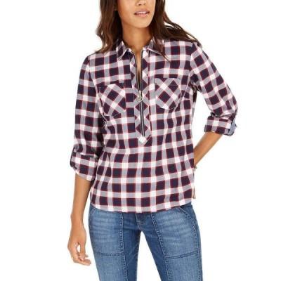 トミー ヒルフィガー カットソー トップス レディース Cotton Backcountry Plaid Zip Shirt Piste Plaid- Navy Multi