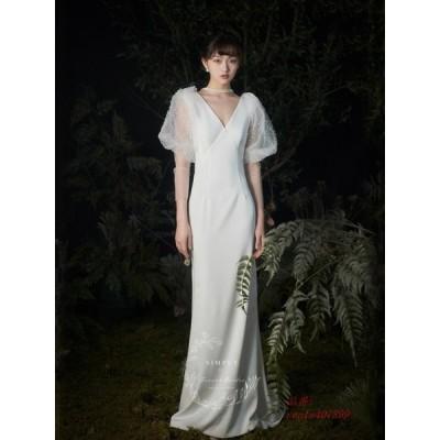 ウェディングドレス ウェディングドレス白 パーティードレス セクシーVネック 花嫁ロングドレス 結婚式 トレーンライン エレお呼ばれ 挙式 二次会