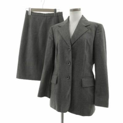 【中古】ジャンフランコフェレ GIANFRANCO FERRE スーツ スカートスーツ ジャケット スカート ミディ丈 イタリア製 グレー M