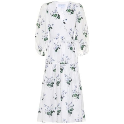 レ レヴェリズ Les Reveries レディース ワンピース ラップドレス ミドル丈 ワンピース・ドレス Floral cotton midi wrap dress Blue Daffodil W White