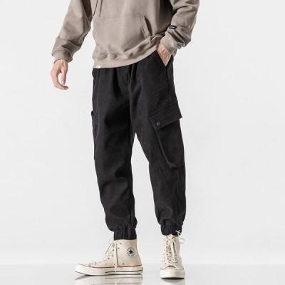 ボトムス メンズ カーゴパンツ ワークパンツ ロング丈 無地 シンプル 裾絞り 合わせやすい アウトドア 運動着 スポーツウェア ゆったり 3色 厚