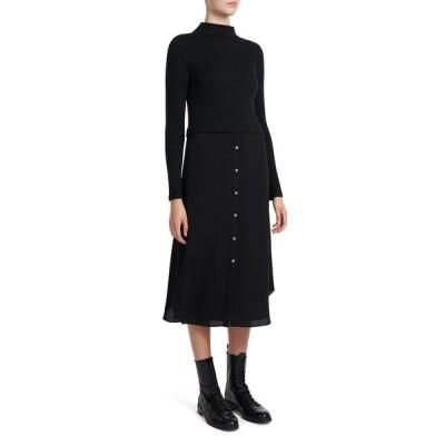 セオリー レディース ワンピース トップス Long-Sleeve Ribbed Combo Dress