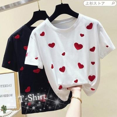 Tシャツ シャツ レディース レディースシャツ 半袖シャツ 刺繍 ハート トップス 半袖 普段着 20代 30代 おもしろ 夏物 おしゃれ ファッション かわいい