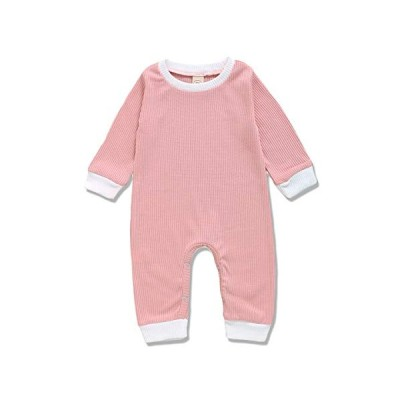 Newborn Unisex Baby Boys Girls Knitted Jumpsuit Long Sleeve Romper Solid Bodysuit One Piece Fall Winter Clothes Outfits (Pink, 6-9 Months)