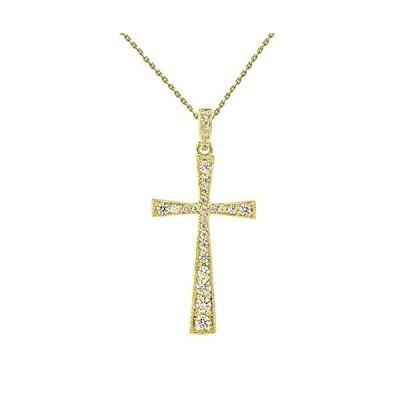 Precious 14k Yellow Gold Diamond-Accented Cross & Bail Pendant Necklac