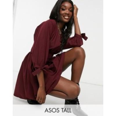 エイソス レディース ワンピース トップス ASOS DESIGN Tall cotton poplin button detail mini smock dress with tie sleeves in oxbloo