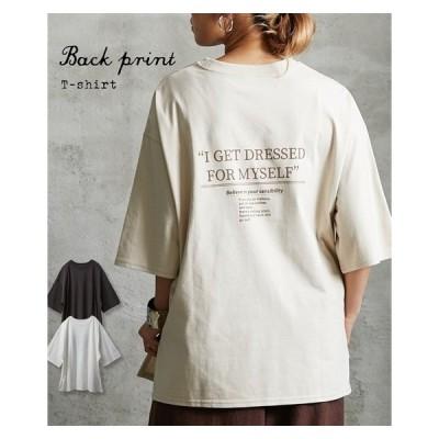 Tシャツ カットソー レディース ゆったりシルエット バック プリント ロゴ M/L ニッセン