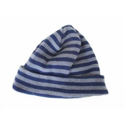 【中古】ビームス BEAMS ボーダー ニット 帽 帽子 コットン グレー 青  メンズ