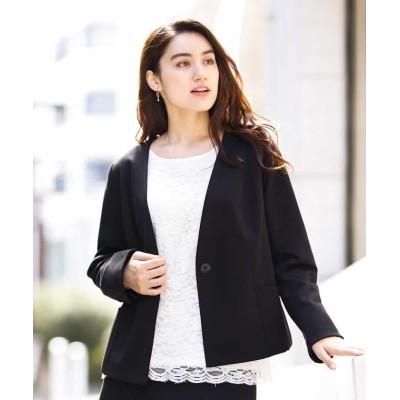 (eur3/エウルキューブ)【大きいサイズ】【スカートスーツ】ノーカラージャケット/レディース ブラック