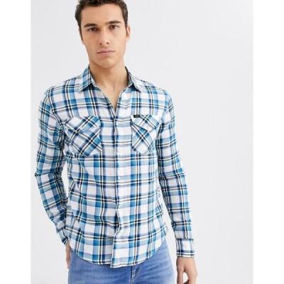 リー メンズ シャツ トップス Lee Jeans check shirt with long sleeves Dipped blue