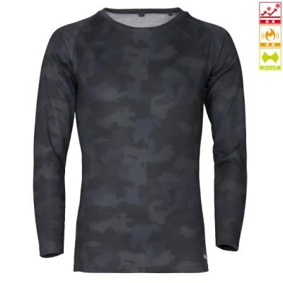 タカミヤ REAL METHOD シャギーボアクルーネックコンプレッションシャツ M ブラックプリントカモフラ (防寒)