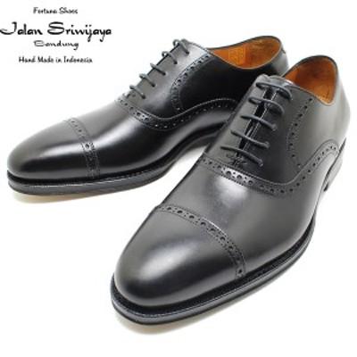 JALAN SRIWIJAYA ジャランスリウァヤ 98409 クオーターブローグ  レザーソール BLACK ビジネス/ドレス/紐靴/革靴/メンズ