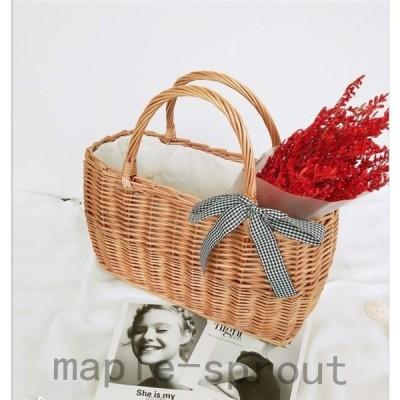 かごバッグカゴバッグ編みバックレディース手提げショルダーバッグビーチバッグ大容量お出かけ軽量