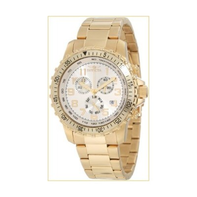 Invicta Men's 11369 Specialty Pilot Design Chronograph Silver Dial 18k Gold Ion-Plated Stainless Steel Watch 並行輸入品