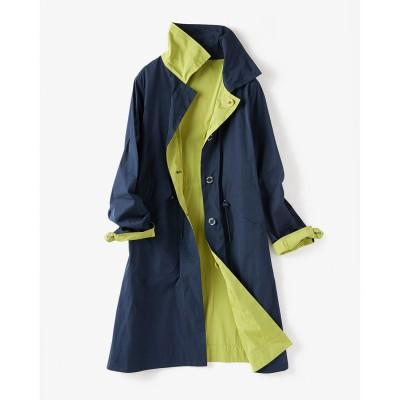 ドゥクラッセ DoCLASSE 二重織リバーシブル・ステンカラーコート (ネイビー×グリーン)