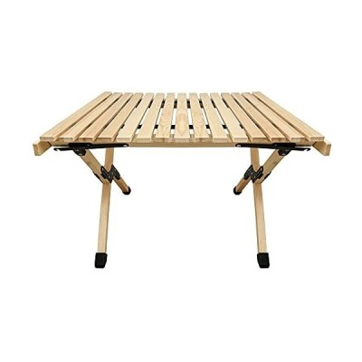 zmayastar 折りたたみ レジャー ロール ウッド テーブル 60cm×60cm アウトドア 収納袋付き バーベキュー レジャー 室