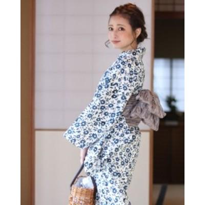 浴衣 レディース浴衣 2点セット(浴衣/帯) 白 ホワイト 紺 ネイビー 茶 ブラウン 花柄