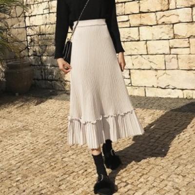 リブニット プリーツ 切替 スカート ロング ゆったり 異素材MIX aya1062