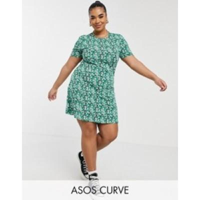 エイソス レディース ワンピース トップス ASOS DESIGN Curve mini tea dress in green floral print Green floral