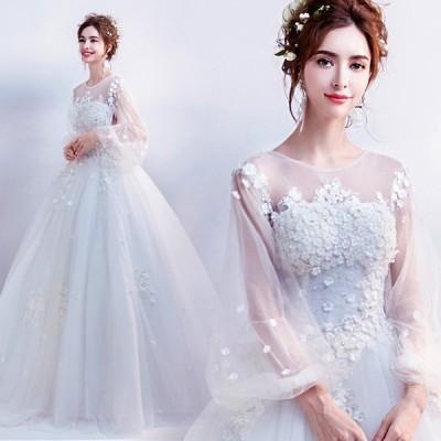 ロングドレス 豪華なドレス カラードレス パーティードレス ウエディングドレス 演奏会ドレス  二次会ドレス お呼ばれ ピアノ 発表会 結婚式ドレス ホワイト