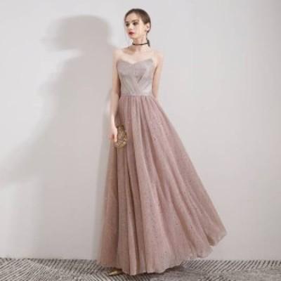 即納 パーティードレス 結婚式 二次会 お呼ばれドレス ワンピース チュール 20代 30代 ブライズメイド ロングドレス 演奏会 発表会