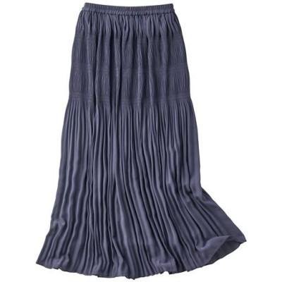 部分プリーツロングスカート(手洗いOK)/グレイッシュブルー/M(64~70)