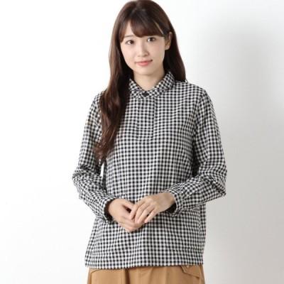 シャツ ブラウス レディース コットン100%のチェックプルオーバーシャツ 「ブラックチェック」