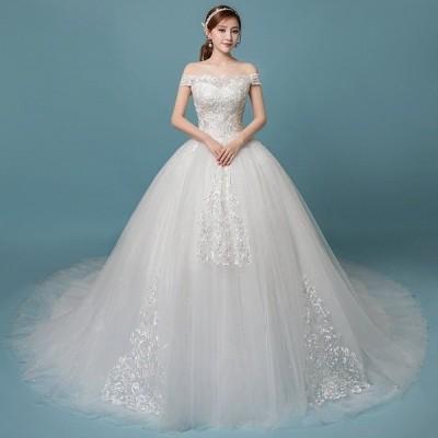 ウエディングドレス 結婚式二次会白ドレスホワイト aライン パーティードレス ブライダル レース ロングドレス 花嫁 イブニングドレス 披露宴 安い