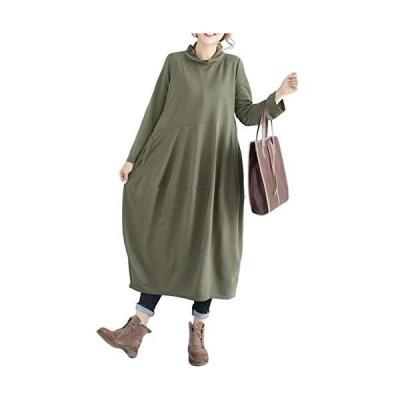 [セノーテリコ] CR24 GR2XL ロングワンピース ゆったり 無地 カジュアル マタニティ 妊婦 長袖 体型カバー 着痩せ