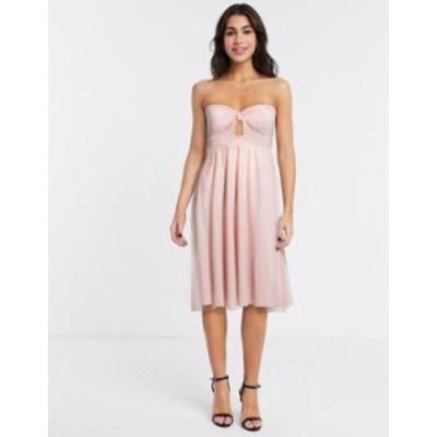 エイソス レディース ワンピース トップス ASOS DESIGN bandeau tulle mesh midi skater dress in pale pink Pale pink